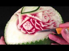 Ellen DeGeneres - Special Watemelon Flower by Mutita Art of Fruit & Vegetable Carving