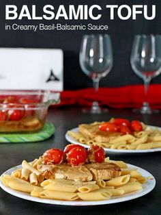 Bake up a panful of Creamy Balsamic Tofu baked with savoury tomatoes to spoon over your favorite pasta for a simple-yet-fancy meal. Vegan Recipes Beginner, Healthy Low Carb Recipes, Low Carb Dinner Recipes, Vegetarian Recipes Dinner, Tofu Recipes, Vegan Dinners, Spicy Recipes, Healthy Food, Fall Appetizers