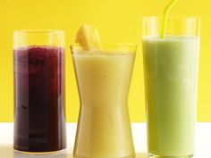 50 Smoothies from FoodNetwork.com. I would use the actual food rather then the juices in some of these but they are a good start for healthy breakfast choices for all.