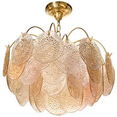Vistosi Textured Glass Chandelier, Italy c.1960