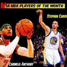 @NBA: @Carmelo Anthony of the @Joe Ariel & Stephen Curry of the @officialwarriors named Kia NBA Players of the Month for April.