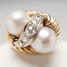 Twin Pearl & Diamond Cocktail Ring Highly Detailed Solid 14K Gold Estate Jewelry | eBay