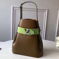 7baf28a72878 Louis Vuitton Two-tone Epi Leather Twist Bucket Bag Army Green Viridis 2019      Real Bag Sale