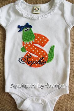 Bodysuit with Ruffle for Baby Girls with Gator Alphabet and Gator with Bow on Etsy, $20.00