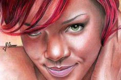 Rihanna by Spomo-U on deviantART ~ colored pencil portrait by Spomenko Ubiparipovic Colored Pencil Portrait, Pencil Art, Colored Pencil Techniques, Mc Escher, Hottest Redheads, Celebs, Celebrities, Photo Manipulation, Art World