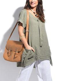 Khaki Linen Pocket Sidetail Tunic