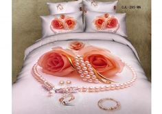 Romantic Pearl necklace and rose print bedding sets 3d Bedding Sets, Cotton Bedding Sets, Comforter Sets, Print 3d, 3d Rose, Floral Bedding, King Queen, Bed Design, Queen Size