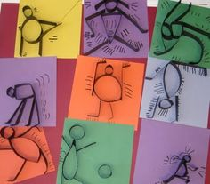 Keith Haring bodies in motion with paper strips