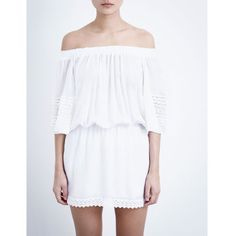 MELISSA ODABASH Terrie off-the-shoulder dress (365 AUD) ❤ liked on Polyvore featuring dresses, white, embroidered dress, off the shoulder sleeve dress, off the shoulder dress, embroidery dress and elastic waist dress