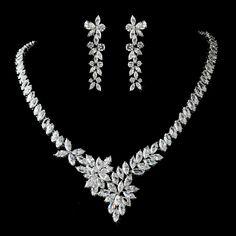 Stunning Marquise Cubic Zirconia CZ Wedding Jewelry Set - Affordable Elegance Bridal -