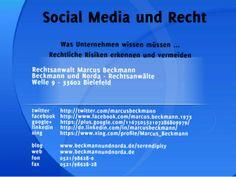 Social Media und Recht: Was Unternehmen wissen müssen by Marcus Beckmann via slideshare