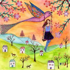Fairytale Illustration Girl with Bird Painting 'Fly me home' for Nursery Decor and Children Wall Decor