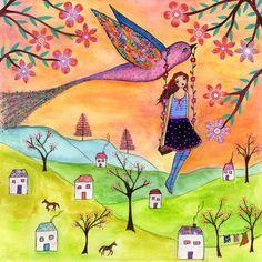 Folk Art Print Whimsical Nursery Decor Nursery Art by Sascalia, $18.00