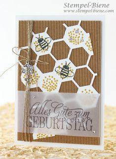 Stempel-Biene: Geburtstagskarte mit den Thinlits Bienenstock