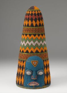 Africa | Beaded crown ~ Adé ~ from the Yoruba people of Nigeria | Glass beads, cloth, thread and basketry | 20th century