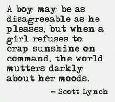 "from Republic of Thieves, by Scott Lynch - pinning because I love the phrase ""crap sunshine on command! Amy Poehler, Quotes To Live By, Me Quotes, Famous Quotes, Wisdom Quotes, Feminist Quotes, Feminist Art, Thing 1, Deep"