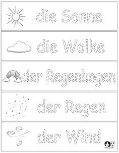 Weather Printouts German ~ German for Kids ~ www.chillola.com