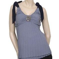 Luluvia Pleated Sleeveless Womens Shirts Blue Size L ~