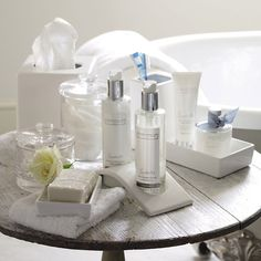 ceramic tissue box cover and bathroom trays - The White Company