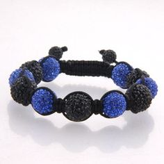 Large 12mm black and blue bead Shamballa on black cord with black crystal end beads.