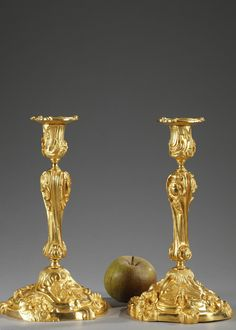 A pair of ormolu candlesticks, the base decorated with beetles, dragonflies, floral and plant motifs. The barrel sculptured with twisted flutes, rocaille and gadroons supports the nozzle hei