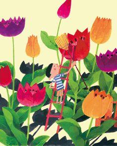 Artwork by Hiroyuki Ishikura. Flowers Illustration, Children's Book Illustration, Graphic Design Illustration, Botanical Illustration, Estilo Retro, Whimsical Art, Elementary Art, Book Art, Spring