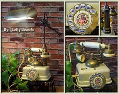 Repurposed French Vintage Telephone Ivory and Antique Brass Upcycled Telescopic adjustable Lamp by Loftyideas4u with Amber Edison Light Bulb by Loftyideas4u on Etsy
