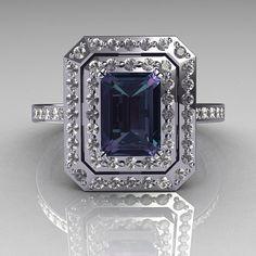 Emerald cut Alexandrite & Diamond ring. Absolutely Gorgeous!!!