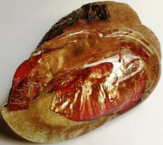 Carole-Anne Lunn, Glass artist. Copper and glass poured from Furnace