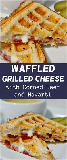 Grilled cheese sandwich with corned beef and havarti cheese cooked in a waffle maker. Grilled cheese sandwich with corned beef and havarti cheese cooked in a waffle maker. Sandwich Maker Recipes, Breakfast Sandwich Maker, Waffle Maker Recipes, Soup And Sandwich, Sandwich Ideas, Sandwich Bar, Sandwich Spread, Waffle Sandwich, Burger Recipes