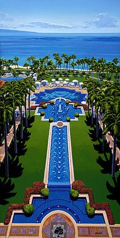 Grand Wailea, Waldorf Astoria Resort in Maui, Hi...This was one of the most beautiful Hotels I have ever been to.  It has a water elevator to get up to the top of the slide and a lazy river between each of their pools.  Oh...and an incredible spa!!!