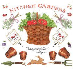 Susan Branch _ Veggie Garden Photo by petcatscraps Susan Branch Blog, Branch Art, Garden Journal, Joy And Happiness, Garden Pots, Edible Garden, Garden Ideas, Watercolor Illustration, Watercolor Art