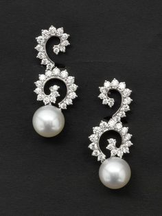 Assael Pearl and Diamond Earrings Designed by Angela Cummings