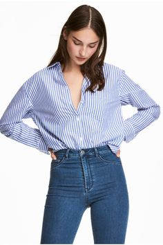 Camisa larga em algodão - Azul/Riscas brancas - SENHORA | H&M PT 1