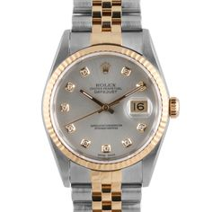 eb85280bbbe1 Men s Rolex Datejust Steel and Gold Silver Diamond Dial Fluted Bezel  Jubilee Band