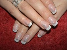 Winter French manicure with silver tinsels :: one1lady.com :: #nail #nails #nailart #manicure