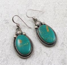 Vintage Signed Navajo Sterling Royston Turquoise Earrings