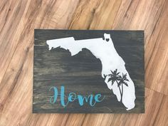 Florida Home with Palm Trees Wood Pallet Sign