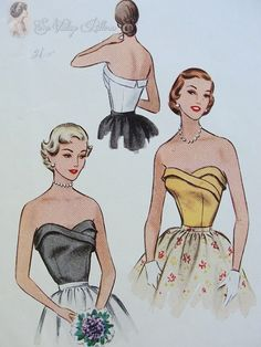 1950s Gorgeous Bombshell Strapless Bodice Blouse Pattern Sweetheart Curved Neckline McCalls 8553 Vintage Sewing Pattern Bust 32