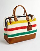 How awesome is this bag. The colors are perfect for the Summer. Yellow for the sun, red for the crabs and green for nature.plus it reminds me of a beach towel. Store all your Summer essentials in this bag. BillyKirk x The Bay O Canada, Hudson Bay Blanket, Striped Bags, Vogue, Summer Essentials, Tote Handbags, Beach Towel, Purses And Bags, Purses