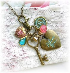 Vintage Inspired Key to Your Heart Charm Necklace Locket by TheVintageHeart