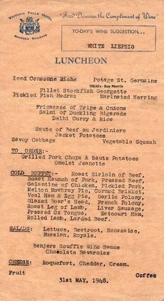 Our Rhodesian Heritage: Victoria Falls Hotel Menu's 1948 Zimbabwe History, Hotel Menu, History Of Pakistan, Long Books, Famous Buildings, Victoria Falls, Out Of Africa, Old Photos, Rare Photos