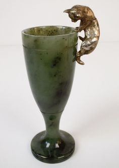 Vintage Russian Jade Vase with Silver Gilt Cat