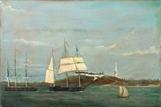 Primitive painting of ships off the Nantucket Coast. Oil on canvas. Primitive Painting, Art Through The Ages, Ship Paintings, Nautical Art, American Art, Early American, Ocean Art, Beach Art, Nantucket