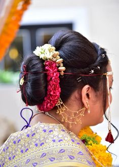 "Photo from album ""Wedding photography"" posted by photographer Vishal Shirke Photography Indian Bridal Hairstyles, Bun Hairstyles, Bridal Hair Buns, Hairstyle Wedding, Wedding Preparation, Mehendi, Wedding Photography, Album, Long Hair Styles"
