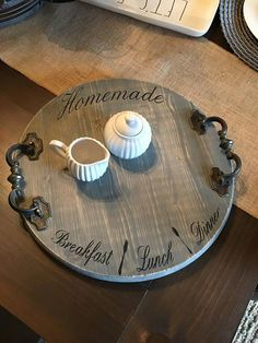 **In Stock- Next day shipping Beautiful antique handle wooden tray. Tray is stained with general finishes gel gray and hand lettered with chalk black. Sealed for a lasting finish. Measures approximately 15 round. Wooden Projects, Wooden Crafts, Diy Projects, Unique Furniture, Rustic Furniture, Diy Furniture, Kitchen Furniture, Furniture Movers, Handmade Furniture