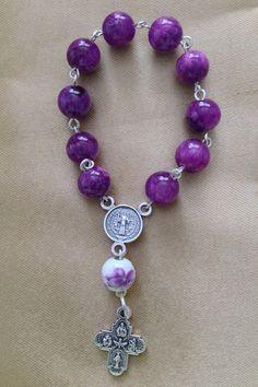 PR004 Purple Ceramic Bead Pocket Rosary by FifteenPromises on Etsy