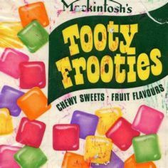 British company, Rowntrees, launched their Tooty Frooties sweets in 1963 1970s Childhood, Childhood Memories, 70s Sweets, Retro Sweets Uk, Sweet Wrappers, British Sweets, Bargello Needlepoint, Small Pillows, Vintage Recipes