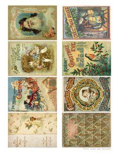 Free to download!  Printable Vintage Christmas Story Book Tags by Jodie Lee.