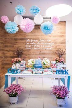 chá de panela / decoração azul e rosa